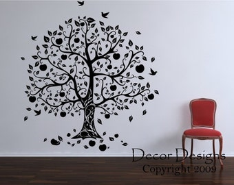 Gorgeous Apple And Birds Tree Vinyl Wall Decal Sticker