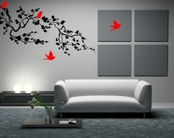 Birds Around The Cherry Blossom Branch Vinyl Wall Decal Sticker