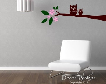 Cute Owl On A Branch Vinyl Wall Decal Sticker