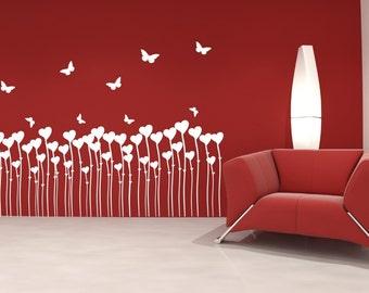 Heart Flowers And Butterflies Vinyl Wall Decal Sticker