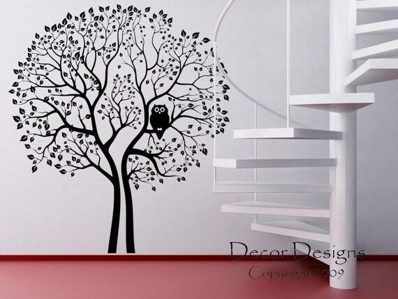 Huge 8 Foot Tall Owl Tree Vinyl Wall Decal Sticker