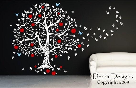 Huge Apple Tree Blowing In The Wind Vinyl Wall Decal Sticker