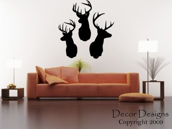 3 Deer Heads Wall Decal