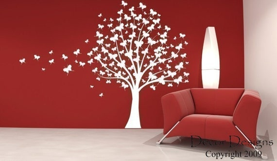 Large Butterfly Tree Vinyl Wall Decal Sticker