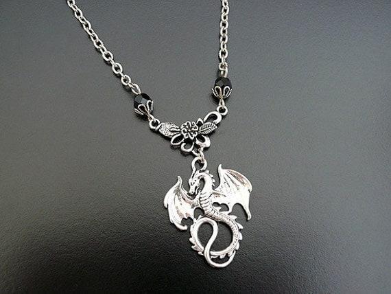 Gothic Necklace Dragon Dark Noir Wing Fairytale Medieval Romantic Fantasy Men Women Goth Jewelry Gothic Jewellery