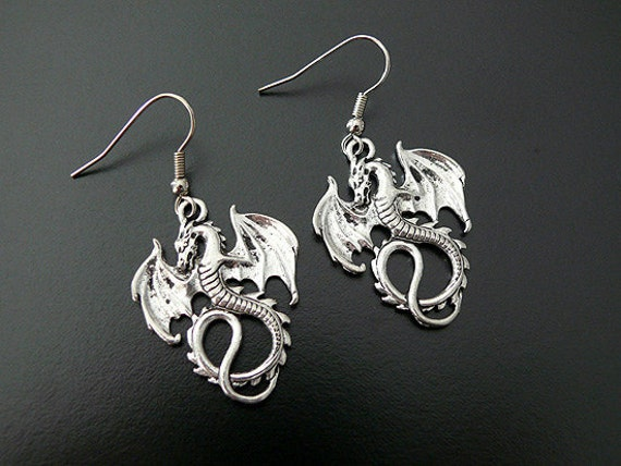 SALE Gothic Dragon Earrings Medieval Wings Wedding Bridal Bride Steampunk Jewelry Woodland Whimsical Fairytale Fantasy Gothic Jewellery