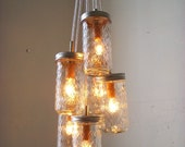 Dazzling Diamonds Mason Jar Chandelier - Upcycled Hanging Lighting Fixture Featuring Pint Sized Quilted Jelly Jars - Rustic BootsNGus Design