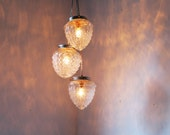 Cascading Autumns Acorns Crystal Clear Pressed Glass Chandelier - UpCycled Hanging Pendant Lighting Fixture - Rustic BootsNGus Lamp Design