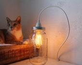 Half Gallon Mason Jar Pendant Light, Hanging Lighting Fixture, Upcycled BootsNGus Mason Jar Lamp, Rustic Modern Chic Home Lighting and Decor