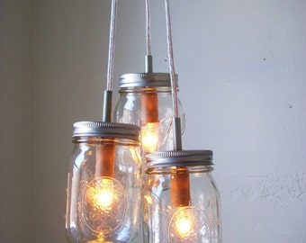 Summer Splendor Mason Jar Chandelier Hanging Pendant Light Direct Hard-Wire - Rustic Wedding Upcycled BootsNGus Lighting Fixture Lamp Design
