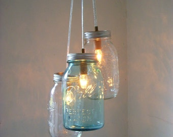 Mason Jar Chandelier, Hanging Mason Jar Pendant Lighting Fixture, Clear and Blue Jars, Rustic BootsNGus Lighting Decor, Bulbs Included