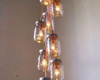 Comet's Tail Mason Jar Chandelier, Modern Country Mason Jar Lighting, Rustic Handcrafted Upcycled BootsNGus Hanging Pendant Light Fixture