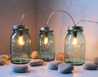 Mason Jar Lights, String Of Three Blue Mason Jar Lamps, Table Lamp, Desk Lighting, Rustic BootsNGus Mason Jar Lights, Bulbs Included