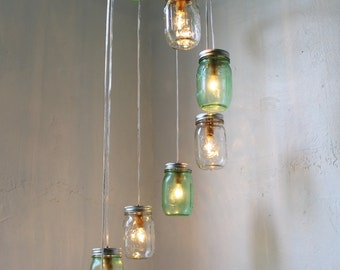 Go GREEN Mason Jar Chandelier Hanging Lighting Fixture - Spiral Waterfall Rustic Mason Jar Wedding Lighting - BootsNGus Modern Home Decor