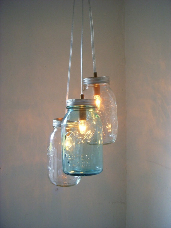 Mason Jar Chandelier, Hanging Mason Jar Pendant Lighting Fixture, Clear and Blue Jars, Rustic BootsNGus Lighting & Home Decor