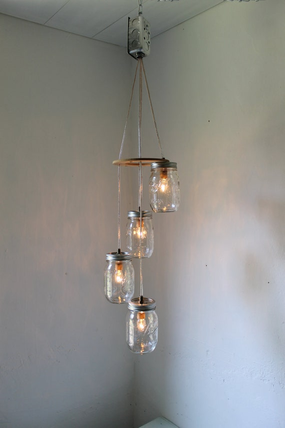 Spiral Mason Jar Chandelier, Rustic Hanging Mason Jar Pendant Lighting Fixture, 4 Clear Pint Jars, BootsNGus Lighting & Decor
