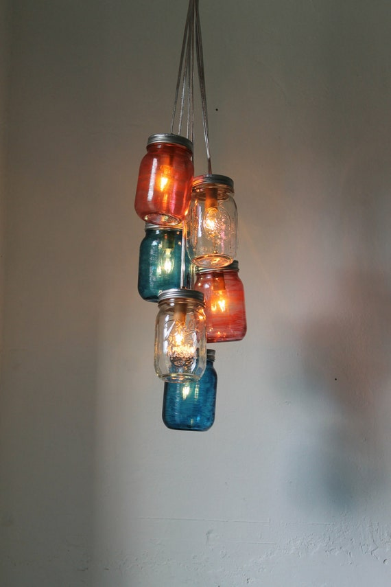 Fourth of July Fireworks Mason Jar Chandelier - Red White and Blue - Rustic Handcrafted Upcycled BootsNGus Hanging Pendant Lighting Fixture