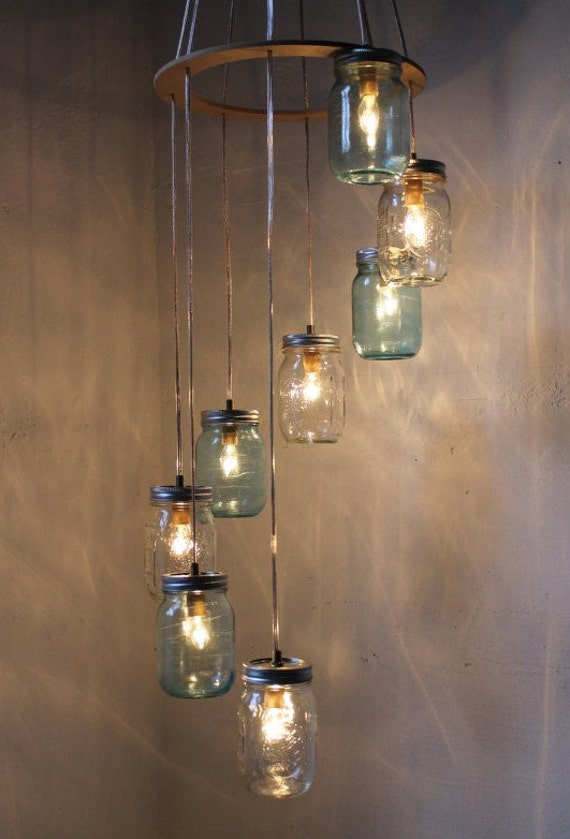 Waterfall splash mason jar chandelier handcrafted hanging for Hanging lights made from mason jars