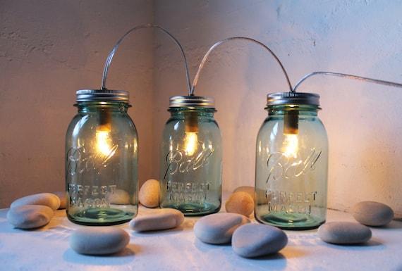 Mason Jar Lights, String Of Three Blue Mason Jar Lamps, Table Lamp, Desk Lighting, Rustic BootsNGus Mason Jar Lights, Bulbs Included