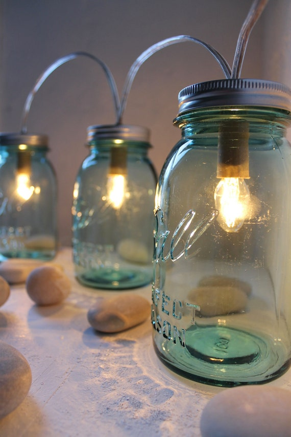 Sapphire BLUE Mason Jar Lights - Banner Style Modern Country Rustic Farmhouse - Industrial Handrcrafted Upcycled BootsNGus Lighting Fixture