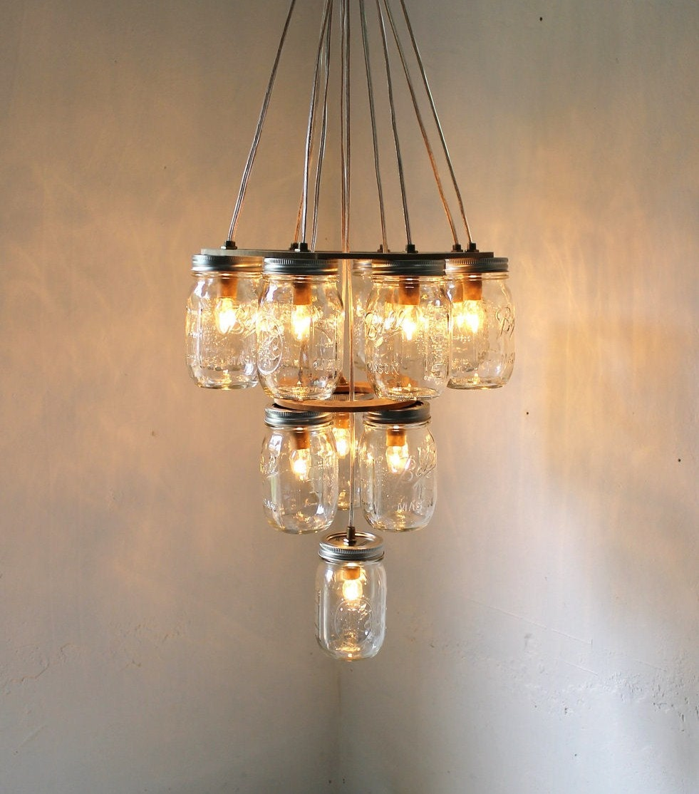 3 tier mason jar chandelier mason jar lighting upside for Hanging lights made from mason jars