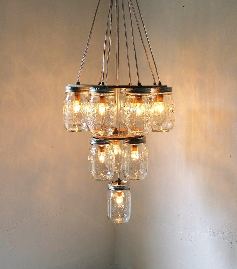 Mason Jar Lighting: 3 Tier Mason Jar Chandelier