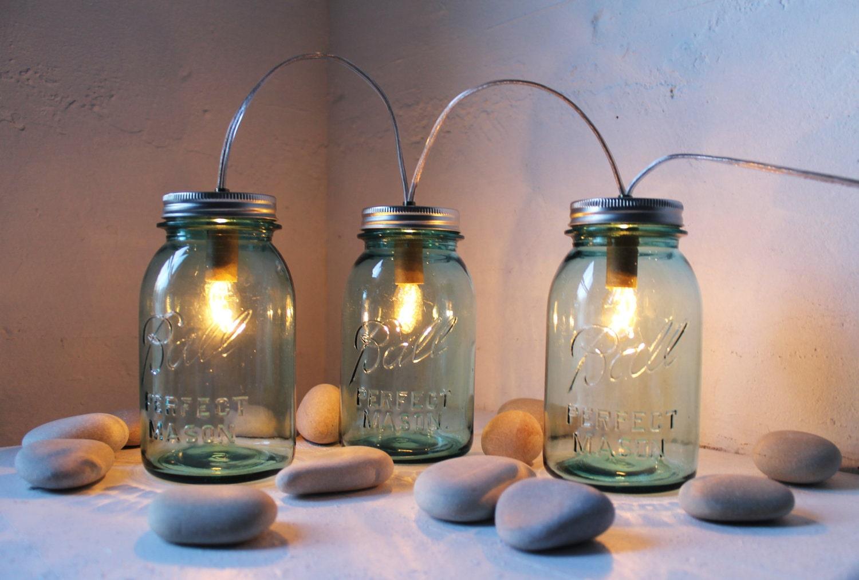 Ball Jar String Lights : Mason Jar Lights String Of Three Blue Mason Jar Lamps Table