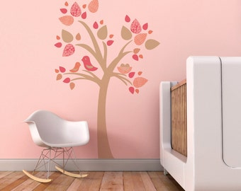 Nursery Wall Decal, Tree Wall Decal, Baby Room Decal, Beige Tree Decal, Kids Room Decal, Birds. Tree with Bird Nest Children Wall Decal