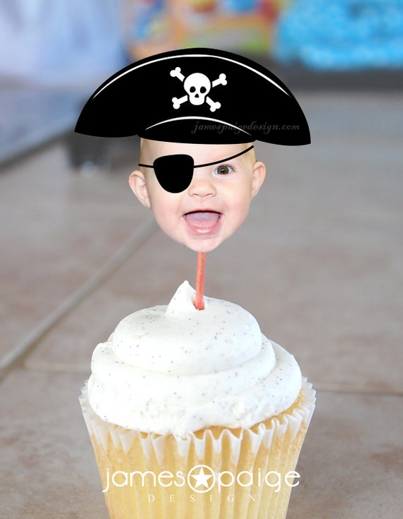 DIY Pirate Hat Photo Cupcake Toppers (Digital File)