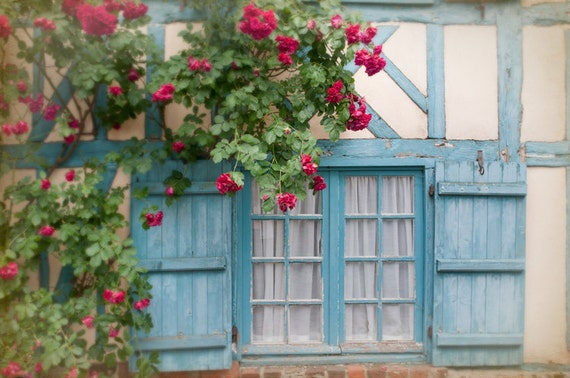 French Country Photo Blue Shutters And Roses On Cottage