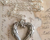 ANGEL WINGS Heart - Pewter Charm