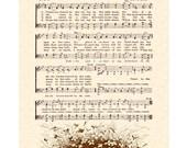 THE CHURCH In The WILDWOOD - Hymn Art - Custom Christian Home Decor - VintageVerses Sheet Music - Inspirational Wall Art - Sepia Brown