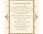 10 COMMANDMENTS --- 8 X 10 Hand Written Calligraphy Art Print Natural Parchment Sepia Brown Alternate Color Choices