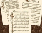 SALE --- 3 For 15 DOLLARS --- Any 8 X 10 Antique Hymn Art Prints Natural Parchment Sepia Brown Ink Tan Sheet Music Christian