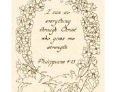 PHILIPPIANS 4:13 --- 8 X 10 Calligraphy Art Print