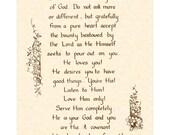 BE THANKFUL - Hand Written Calligraphy Wall Art Print - VintageVerses - Inspirational Wall Art - Thanksgiving Poem - Be Thankful Poem- Sepia
