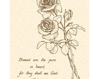 MATTHEW 5:8 - Beatitudes Number 6 in a Series of Nine 8x10 Calligraphy Art Prints VintageVerses Christian Wall Art Natural Parchment Sepia