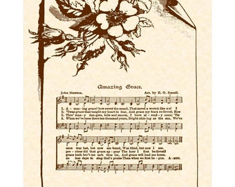 AMAZING GRACE Hymn Wall Art Christian Home Or Office Decor Vintage Verses Sheet Music Wall Art Inspirational Wall Art Hymn On Parchment Sale