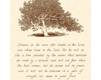 JEREMIAH 17:7-8 --- 8 X 10 Handwritten Calligraphy Art Print on Natural Parchment in Sepia Brown Ink