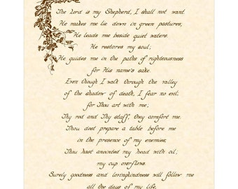PSALM 23 - 8x10 Hand Written Calligraphy Art Print on Natural Parchment in Sepia Brown Ink Vintage Verses The Lord Is My Shepherd