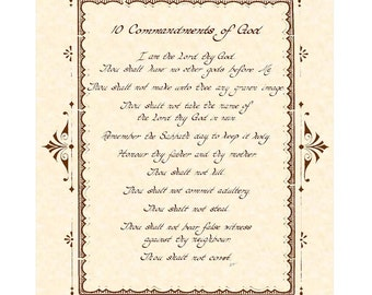 10 COMMANDMENTS --- 8 X 10 Hand Written Calligraphy Art Print Natural Parchment Sepia Brown Alternate Color Choices