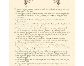 MATTHEW 6:19-34 -11x14 Hand Written Calligraphy Art Print White or Natural Parchment Charcoal Grey or Sepia Brown Ink Words of Jesus Birds