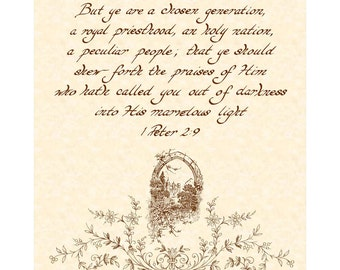 1 PETER 2:9 --- 8 X 10 Hand Written Calligraphy Art Print on Natural Parchment in Sepia Brown Ink