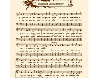 BLESSED ASSURANCE --- 8 x 10 Antique Hymn Art Print on Natural Parchment in Sepia Brown Ink