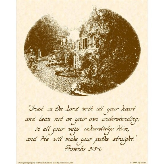 PROVERBS 3:5-6 - 8X10 Hand Written Calligraphy Art Print Natural Parchment Sepia Brown Ink Christian Home Decor Wall Art VintageVerses