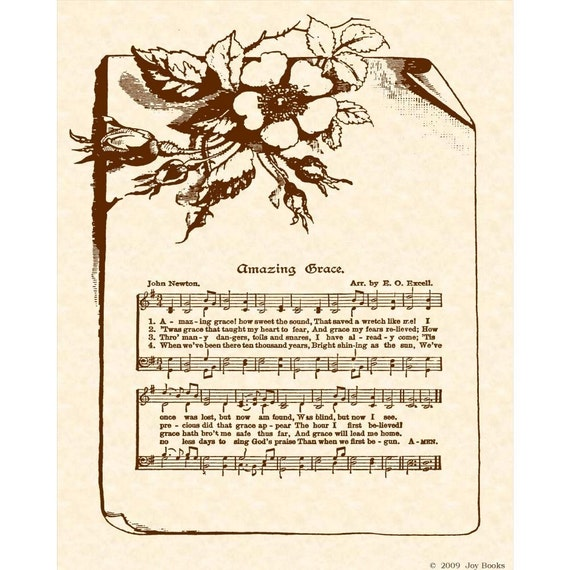 Amazing Grace Lyrics And Sheet Music: AMAZING GRACE Hymn Art Custom Christian Home Decor