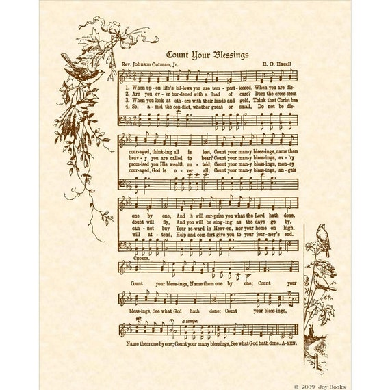 COUNT YOUR BLESSINGS- Hymn Art - Custom Christian Home Decor - VintageVerses Sheet Music - Inspirational Wall Art - Sepia- Natural Parchment