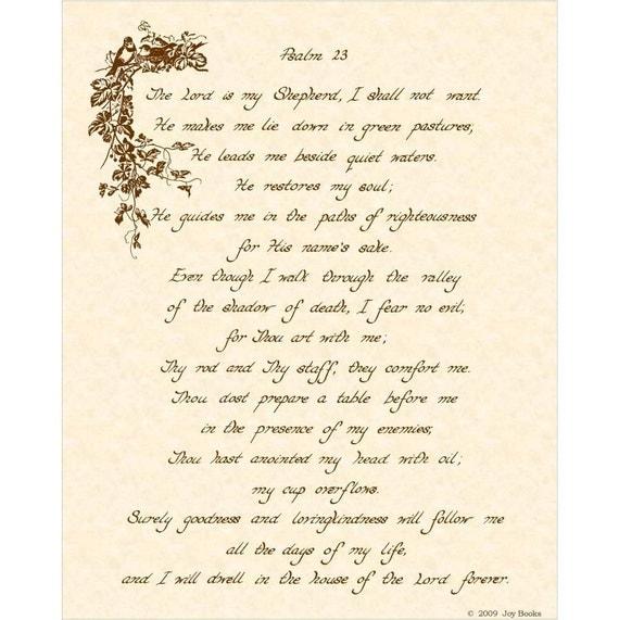 Psalm 23 8x10 Hand Written Calligraphy Art Print On Natural