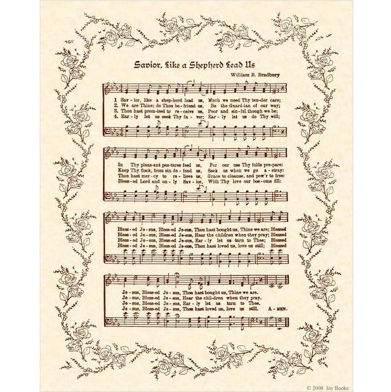 SAVIOR LIKE A Shepherd Lead Us Custom Christian Home Decor Vintage Verses Sheet Music 8x10 Antique Look Wall Art Print Parchment Sepia Brown