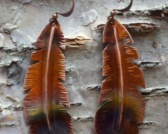 Handcrafted Heated Copper Feather Earrings